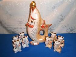 Retro Ukrán Kijev porcelán Art Deco hal figurás pálinkás készlet 1 nagy kiöntő 2x4 db pohár