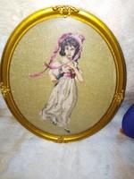 19142A3 Kalapos hölgy gobelin ovális keretben