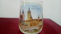Régi Cseh ivókúra üveg pohár