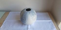 Hollóházi porcelán ritka art deco váza aquazur