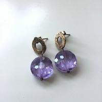 IPPOCAMPO aranyozott ezüst fülbevaló csiszolt kristály kővel