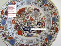 Extrém Kuriózum! Antik Meissen/Meisseni szines hagyma mintás kardos jelű eredeti porcelán 3 részes!