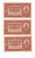2 korona 1920, 3db sorszámkővető