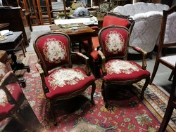 Antik neobarokk gobelin szövetes karfas székek