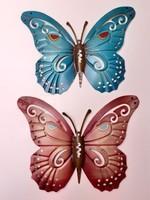 Fém lepke dekoráció fémlemez pillangó 2 db
