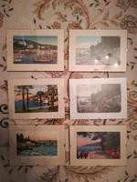 Opatija / Abbazia antik képeslap gyűjtemény üveg keretben 6 db.