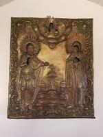 Antik gródolt hátú sárgaréz borítású kézzel festett ikon 1700-as évek