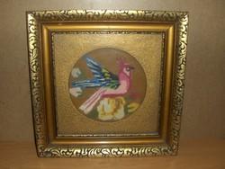 Régi goblein gobelin madár kép üvegezett képkeret 38*38 cm (g)