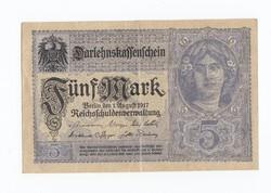 5 Márka 1917 Reichs/Németország Berlin