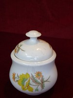 Alföldi porcelán cukortartó, ritka sárga virággal.