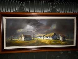 112×60cm olaj-farost festmény gyönyörű keretben.