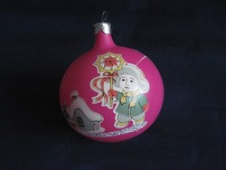 Retro ciklámen színű gömb karácsonyfadísz  7,5 x 8,5 cm
