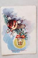 Régi képeslap 1958 karácsonyi lámpás