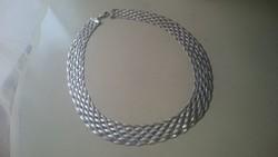 Ezüst ultradekoratív lapos széles nyaklánc, nyakék. 925- ös