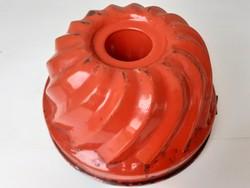 Régi zománcos kuglóf sütőforma piros zománcozott kuglófsütő 23 cm