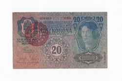 20 Korona 1913 szép piros körpecsétes.