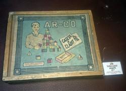 Régi Ar-Co fa építőkocka eredeti doboza szép állapotu régi fa doboz