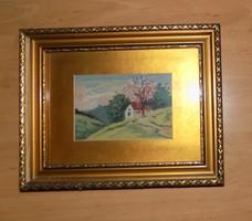 """Gobelin goblein """"Ház a völgyben"""" üvegezett képkeretben  23*29 cm"""