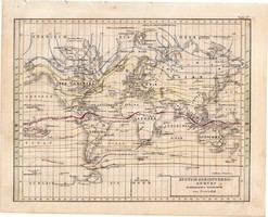 Világtérkép, izotermikus görbék rendszere 1854, német, eredeti, atlasz, térkép, világ, Föld