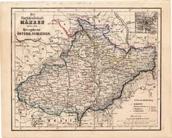 Morva őrgrófság térkép 1854, német nyelvű, eredeti, atlasz, osztrák, monarchai, Szilézia, Brünn
