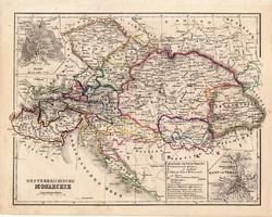 Ausztria - Magyarország térkép 1854, német nyelvű, eredeti, atlasz, osztrák, politikai, monarchia