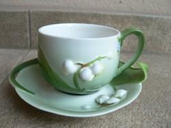 Virágos porcelán csésze alátéttel