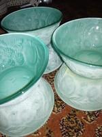 Jáde színű, kompótos üveg tálkák hihetetlen halvány malachit zöld színben