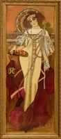 KÜLÖNLEGESSÉG! Dr. Hiszekné Judit, Mucha, Ősz selyemakvarell