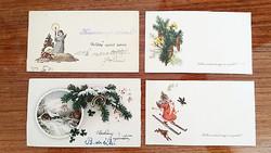 Régi karácsonyi mini képeslap 1950 körüli újévi üdvözlőkártya 4 db