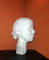 Női szobor fej, kvalitásos életnagyságú gipsz felrakassál készült portré vázlat