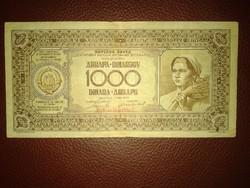 Jugoszláv 1000 dinár 1946 évi