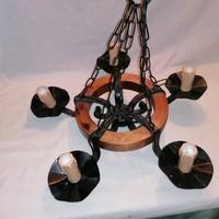 Szakember által felújított 5 karos fa kerekes vas csillár