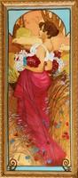 KÜLÖNLEGESSÉG! Dr. Hiszekné Judit, Mucha, Nyár, gyönyörű selyemakvarelljét eladásra kínálom