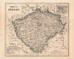 Cseh királyság térkép 1854, német nyelvű, eredeti, atlasz, osztrák, Bohémia, monarchia, Prága