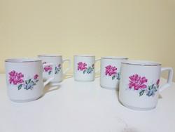 5 db rózsaszín virágos retro porcelán bögre