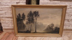 Aranyossy olaj-vászon festmény , ködös erőbelső