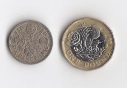 1 Font 2017 és 6 Penny 1956 Anglia/Egyesült Királyság