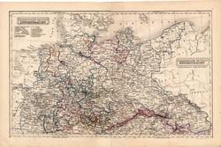 Észak - német államok térkép 1854, német nyelvű, eredeti, osztrák, atlasz, Európa, kelet, nyugat