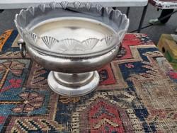 Antik Magyar ezüst kínáló, eredeti üveggel. 1880