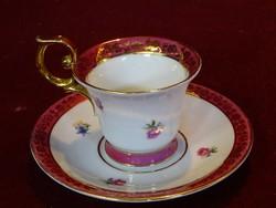 PM minőségi német porcelán teáscsésze + alátét. Arany füllel.