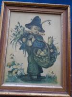 Antik Hummel kép keretben 795 a posta