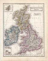 Anglia, Skócia, Írország térkép 1854, német nyelvű, eredeti, atlasz, osztrák, Britannia, Európa