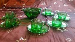 Gyönyörű, zöld, csiszolt üveg kávéskészlet eladó!Zöld mokkás kászlet