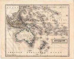 Ausztrália térkép 1854, német nyelvű, eredeti, atlasz, osztrák, Óceánia, Csendes - óceán, szigetek