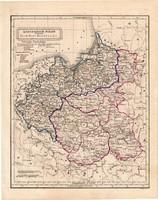 Lengyel királyság térkép 1854, német nyelvű, eredeti, atlasz, Kelet - Poroszország, észak