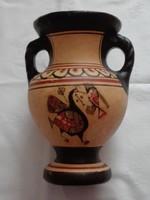 Ciprusi kerámia váza, 17 cm magas