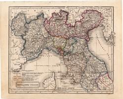 Észak - Olaszország térkép 1854, német nyelvű, eredeti, atlasz, osztrák, Európa, Toszkána, Itália