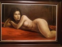 Fekvő női akt festmény - Kalcsó József műve
