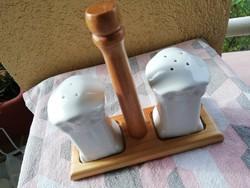 Régi asztali fűszertartó porcelán-fa