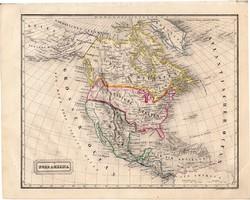 Észak - Amerika térkép 1854, német nyelvű, eredeti, atlasz, osztrák, közép, Mexikó, Kanada, USA